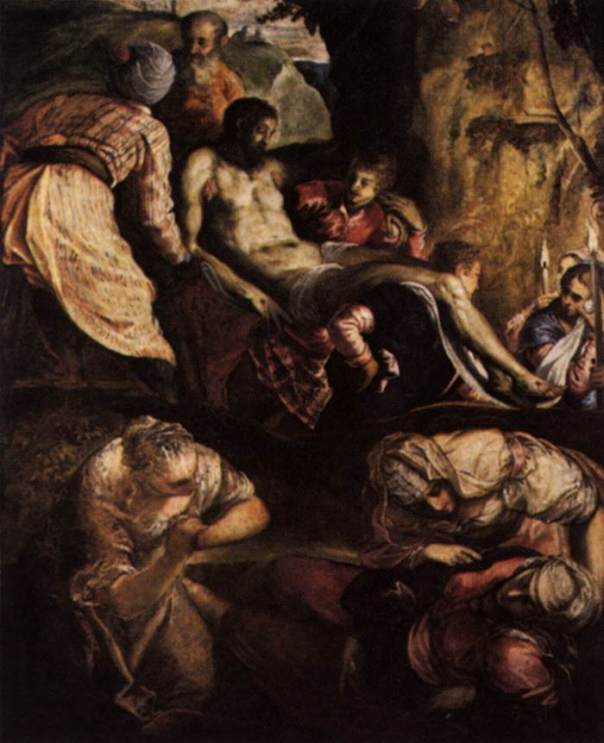 an analysis of the painting the crucifixion of christ by tintoretto The episodes leading up to the monumental crucifixion follow one another in an opposite direction: on the extreme right we see christ before pilate in the centre, above the doorway, the ecce homo on the left the road to calvary the arrangement is determined by the particular meaning intended for it the sequence is presented as the vision of.